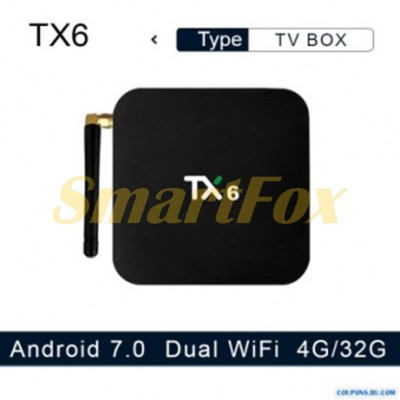 Приставка Smart TV Box TX6 (4/32Gb) Android 9.0 dual Wi-Fi