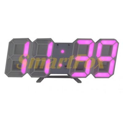 Часы настольные SL-6609 с розовой подсветкой