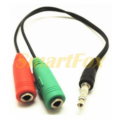 Переходник 3,5 мм M/3,5 мм F Microphone mic and earphone Extension Audio Splitter Cable Y