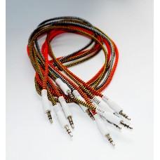 Кабель аудио 3,5 мм/3,5 мм плетеный толстый шнур c пластиковым наконечником