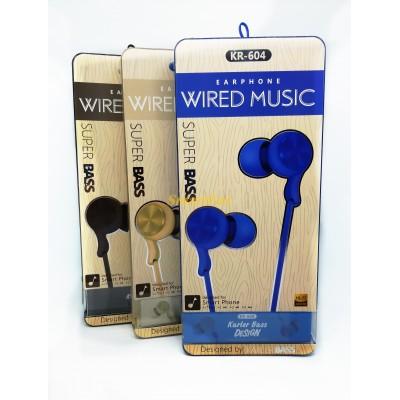 Наушники вакуумные с микрофоном KARLER KR604 (упаковка 8шт, цена за упаковку)