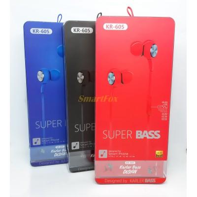 Наушники вакуумные с микрофоном KARLER KR605 (упаковка 8шт, цена за упаковку)