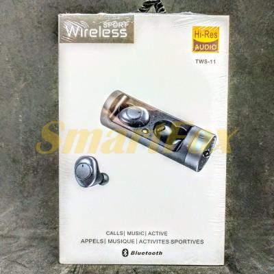 Блютуз гарнитура TWS-11 с сенсорной регулировкой + кейс для зарядки с индикатором