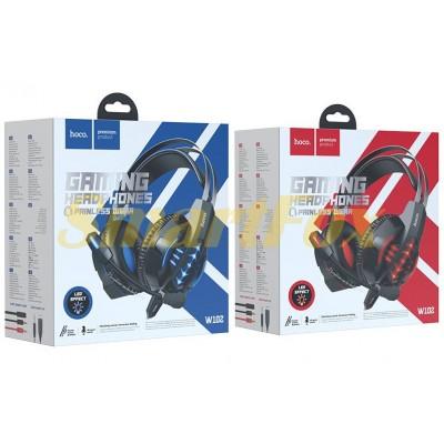 Наушники накладные с микрофоном HOCO W102 Cool tour игровые (Голубой, Красный)