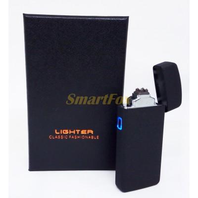 Зажигалка USB плазменная на две дуги боковая глянцевая Z-033