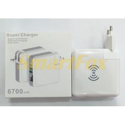 СЗУ 2USB 6,7A + ЗУ беспроводное Super Charger TYPE-C Output+Wireless Powerbank