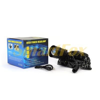 Фонарь налобный Bailong BL-8053-P50 2x18650 microUSB