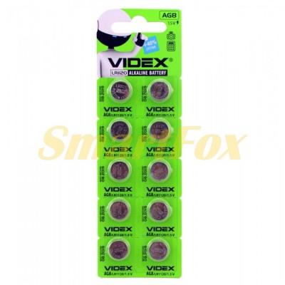 Батарейка VIDEX часовая ALKALINE AG8 LR1120 1.5V (цена за 1шт, упаковка 10шт)