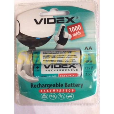 Аккумулятор VIDEX Rechargeable R-6 1000mAh 1.2V (HR6,size AA,NiMN) (цена за 1шт, продажа упаковкой 2