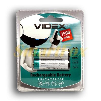 Аккумулятор VIDEX Rechargeable R-6 1500mAh 1.2V (HR6,size AA,NiMN) (цена за 1шт, продажа упаковкой 2