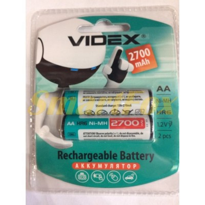 Аккумулятор VIDEX Rechargeable R-6 2700mAh 1.2V (HR6,size AA,NiMN) (цена за 1шт, продажа упаковкой 2