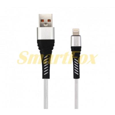 Кабель USB/IPHONE 5 SERTEC ST-059 круглый плетеный (1 м) GRAY