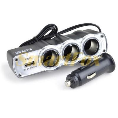 АЗУ USB тройник в прикуриватель WF0120