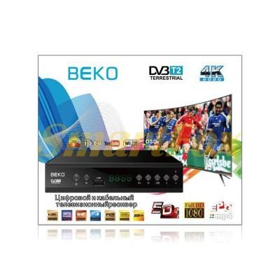 Приставка T2 цифровая с экраном DVB-T2 Beko IPTV/YouTube/WiFi/MP4/4K/1080 T2-BK-2020