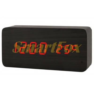 Часы настольные VST-862-1 с красной подсветкой в виде деревянного бруска