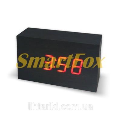 Часы настольные VST-863-1 с красной подсветкой в виде деревянного бруска